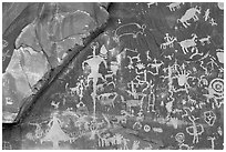 Petroglyphs on Newspaper rock. Utah, USA (black and white)