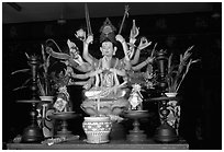 Altar with a multiple-armed buddhist statue. Ho Chi Minh City, Vietnam ( black and white)