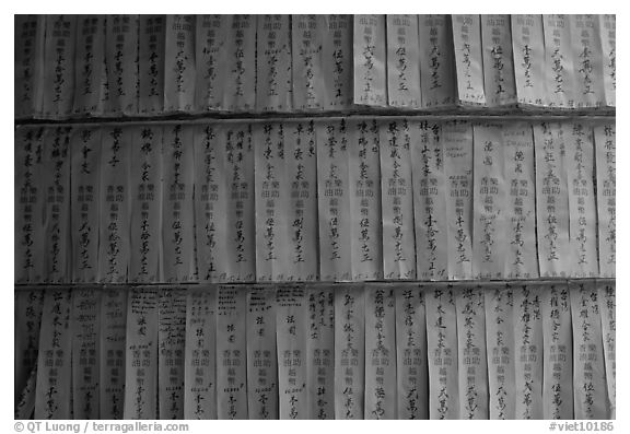 Prayer labels with names written in Chinese characters. Cholon, District 5, Ho Chi Minh City, Vietnam (black and white)