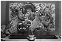 Dragon bas-relief. Cholon, District 5, Ho Chi Minh City, Vietnam (black and white)