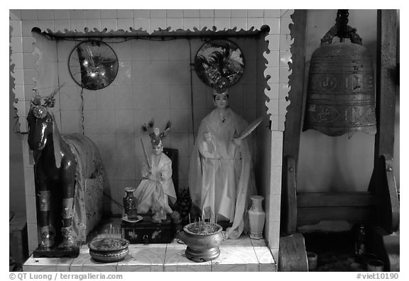 Altar dedicated to historic genies. Cholon, District 5, Ho Chi Minh City, Vietnam (black and white)