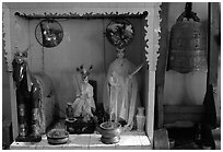 Altar dedicated to historic genies. Cholon, District 5, Ho Chi Minh City, Vietnam ( black and white)