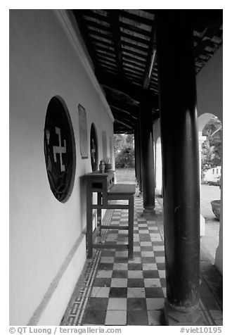 Gallery outside Giac Vien Pagoda with svastikas, district 11. Ho Chi Minh City, Vietnam (black and white)