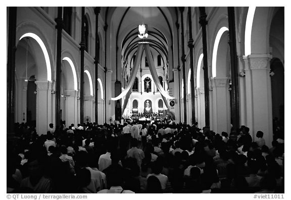 Christmas mass, Cathedral St Joseph. Ho Chi Minh City, Vietnam (black and white)