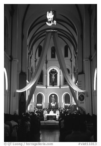 Christmas night mass, Cathedral St Joseph. Ho Chi Minh City, Vietnam