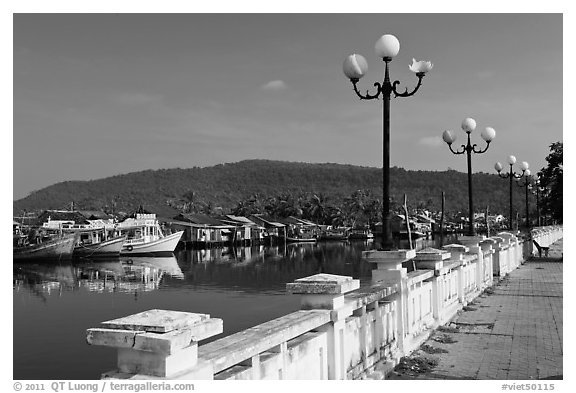 Quays of Duong Dong River, Duong Dong. Phu Quoc Island, Vietnam (black and white)