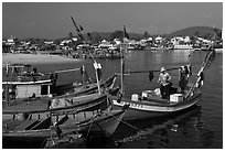 Fishing boats, Duong Dong. Phu Quoc Island, Vietnam ( black and white)