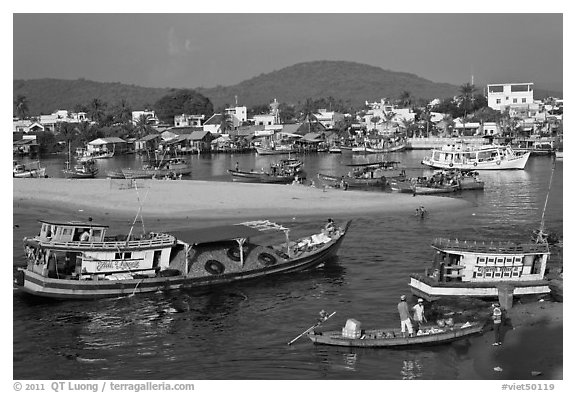 Entrance of Duong Dong Harbor. Phu Quoc Island, Vietnam (black and white)
