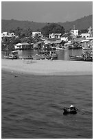 Basket boat, beach and harbor, Duong Dong. Phu Quoc Island, Vietnam ( black and white)