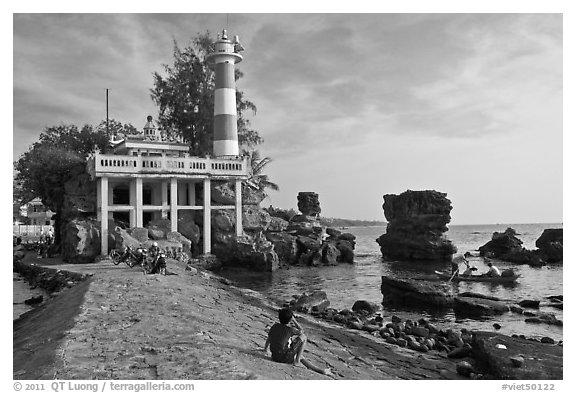 Cau Castle (a combination temple and lighthouse), Duong Dong. Phu Quoc Island, Vietnam (black and white)