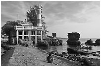 Cau Castle (a combination temple and lighthouse), Duong Dong. Phu Quoc Island, Vietnam ( black and white)