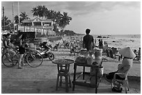 Food vendor,  Long Beach, Duong Dong. Phu Quoc Island, Vietnam ( black and white)