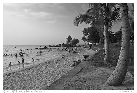 Long Beach and  Cau Castle, Duong Dong. Phu Quoc Island, Vietnam (black and white)