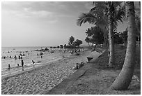 Long Beach and  Cau Castle, Duong Dong. Phu Quoc Island, Vietnam ( black and white)