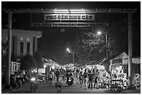Dinh Cau Night Market entrance. Phu Quoc Island, Vietnam (black and white)