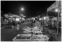 Seafood stall, night market. Phu Quoc Island, Vietnam ( black and white)