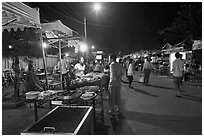 Restaurant, Dinh Cau Night Market. Phu Quoc Island, Vietnam ( black and white)