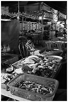 Seafood, Dinh Cau Night Market. Phu Quoc Island, Vietnam ( black and white)