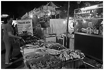 Food stall, Dinh Cau Night Market. Phu Quoc Island, Vietnam (black and white)