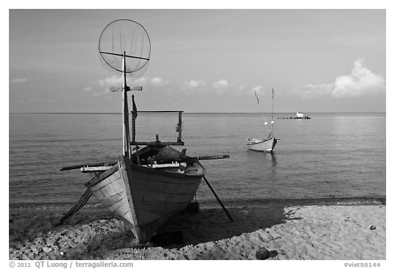Fishing skiffs, Long Beach. Phu Quoc Island, Vietnam (black and white)