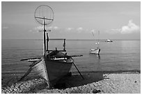 Fishing skiffs, Long Beach. Phu Quoc Island, Vietnam ( black and white)