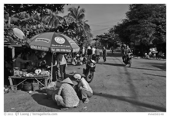 Street market in village along Long Beach. Phu Quoc Island, Vietnam (black and white)