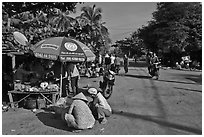 Street market in village along Long Beach. Phu Quoc Island, Vietnam ( black and white)