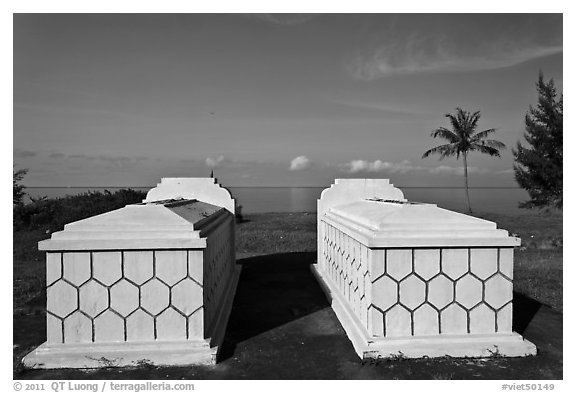Tombs and sea, Long Beach. Phu Quoc Island, Vietnam (black and white)