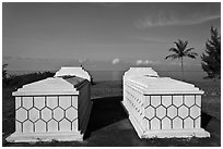 Tombs and sea, Long Beach. Phu Quoc Island, Vietnam ( black and white)