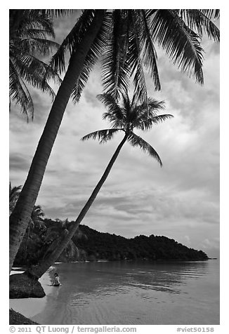 Bai Sau beach and woman. Phu Quoc Island, Vietnam (black and white)