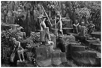 Sculptures near Suoi Tranh. Phu Quoc Island, Vietnam ( black and white)