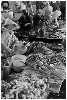 Woman selling sea food, Duong Dong. Phu Quoc Island, Vietnam ( black and white)