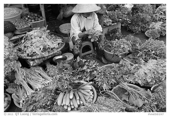 Woman selling vegetables at public market, Duong Dong. Phu Quoc Island, Vietnam
