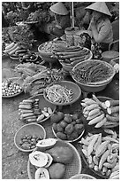 Women selling fruit and vegetables at market, Duong Dong. Phu Quoc Island, Vietnam ( black and white)
