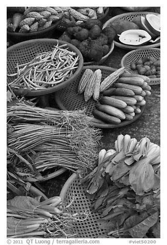 Close-up of vegetable in baskets, Duong Dong. Phu Quoc Island, Vietnam (black and white)