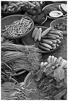 Close-up of vegetable in baskets, Duong Dong. Phu Quoc Island, Vietnam ( black and white)