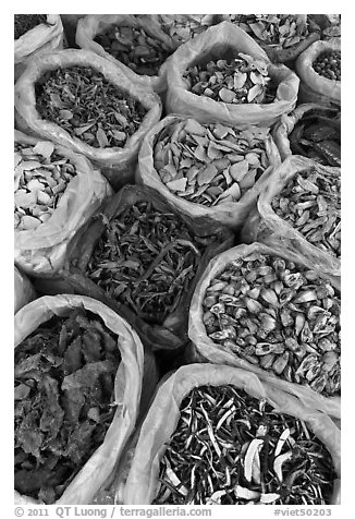 Close-up of dried foods in bags, Duong Dong. Phu Quoc Island, Vietnam (black and white)