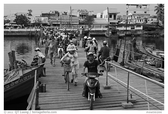 Crossing the mobile bridge over Duong Dong river, Duong Dong. Phu Quoc Island, Vietnam (black and white)
