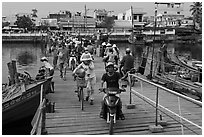 Crossing the mobile bridge over Duong Dong river, Duong Dong. Phu Quoc Island, Vietnam ( black and white)