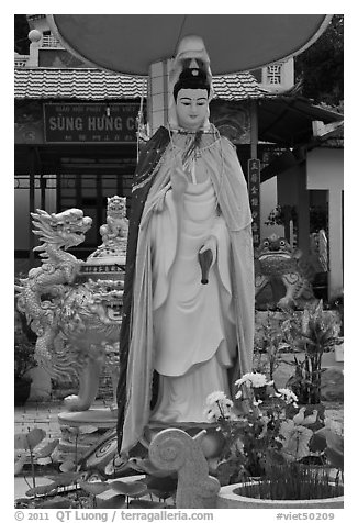 Statue in front of buddhist temple, Duong Dong. Phu Quoc Island, Vietnam (black and white)