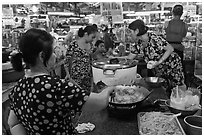 Food stalls, Ben Thanh Market. Ho Chi Minh City, Vietnam (black and white)