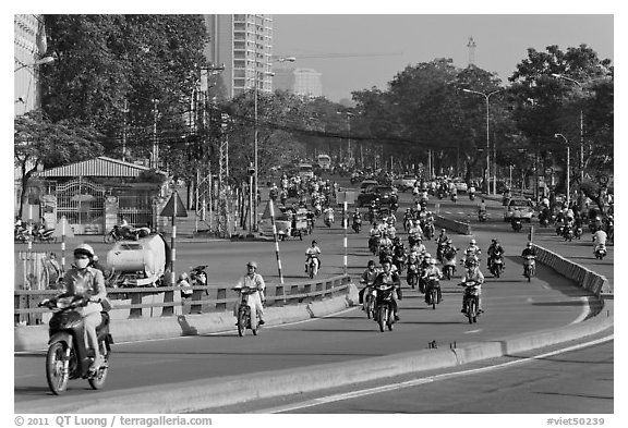 Morning traffic along Saigon river. Ho Chi Minh City, Vietnam (black and white)