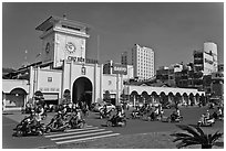 Eastern Gate, Ben Thanh Market, morning. Ho Chi Minh City, Vietnam (black and white)