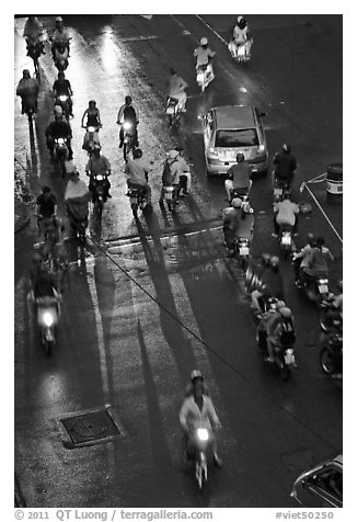 Intersection at night seen from above. Ho Chi Minh City, Vietnam (black and white)
