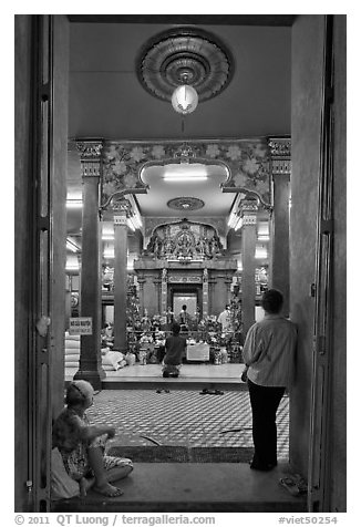 Mariamman Hindu Temple from entrance gate. Ho Chi Minh City, Vietnam (black and white)