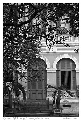 Colonial-area building. Ho Chi Minh City, Vietnam (black and white)