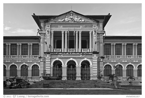 Courthouse in French colonial architecture. Ho Chi Minh City, Vietnam (black and white)