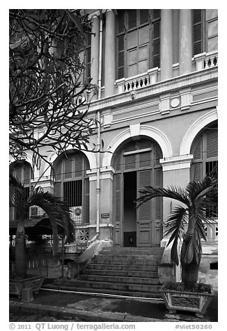 Detail of colonial architecture. Ho Chi Minh City, Vietnam (black and white)