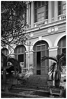 Detail of colonial architecture. Ho Chi Minh City, Vietnam ( black and white)