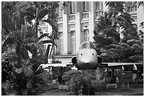 Fighter plane used by renegate South Vietnamese pilot to bomb Presidential Palace. Ho Chi Minh City, Vietnam ( black and white)